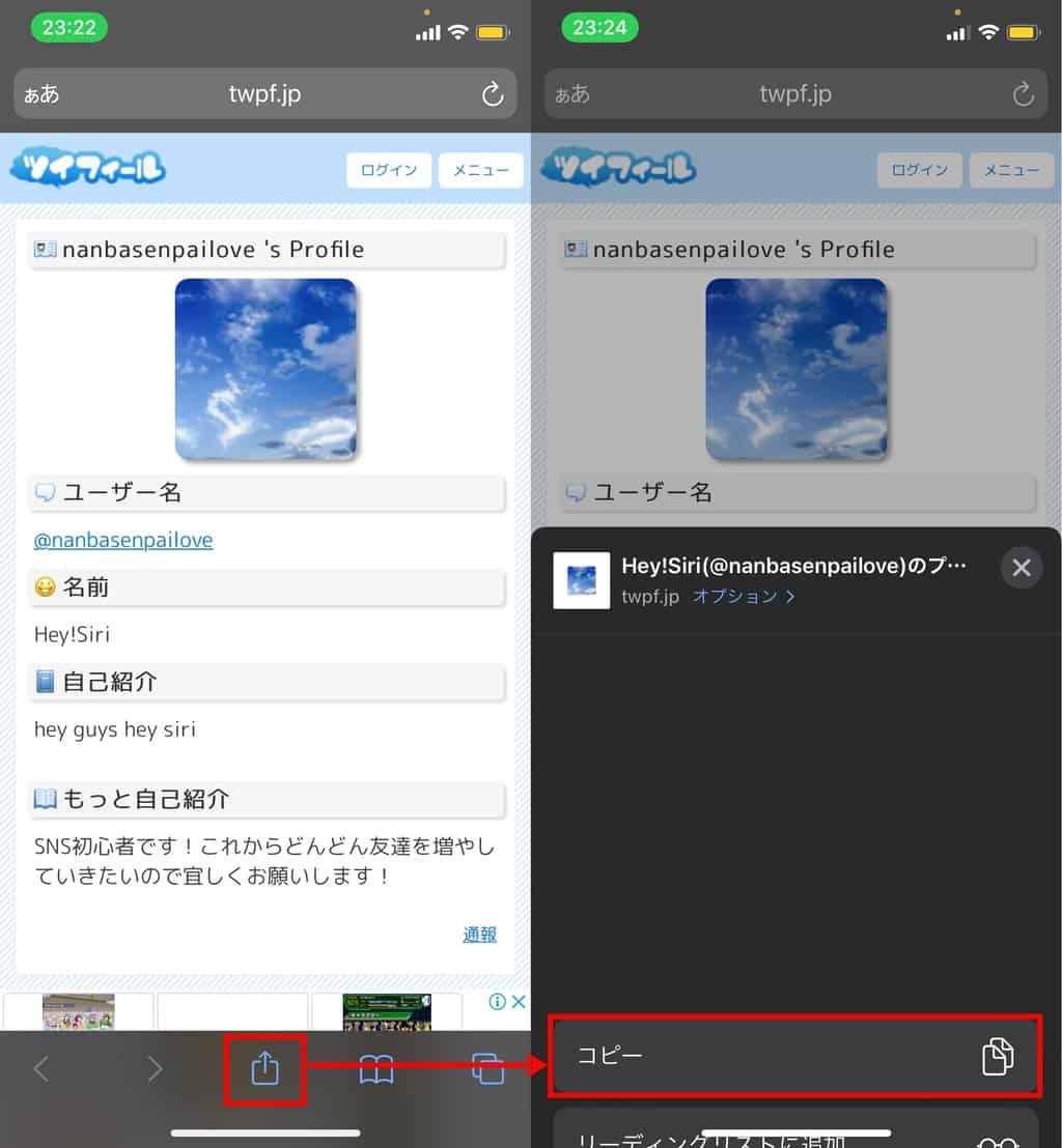 ツイフィールiPhone URLコピー方法